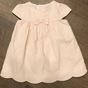 Girls Pink and white dress with bow